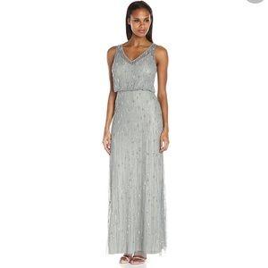 Adrianna Papell Sleeveless Bead Bluson Gown